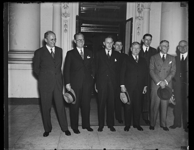 [Group, L to R: Henry Morgenthau, Joseph Kennedy, Harry Hopkins, Harold Ickes. White House, Washington, D.C.]