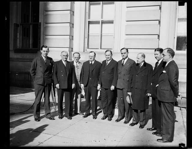 [Group: Rush D. Holt, left; Joseph T. Robinson, 5th from left]