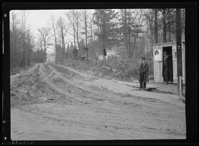 Guardhouse number two and newly built road to Berwyn project, Maryland