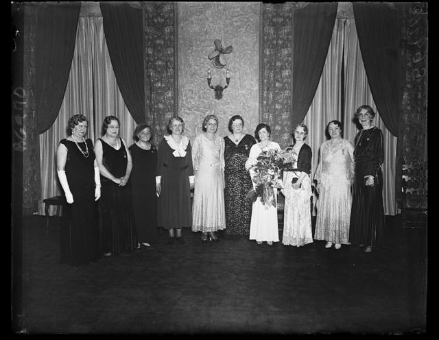 Have led Spanish War auxiliary. Left to right: Mamie B. Schmidt (Ga.), 1933-34; Florence M. Clark (Ohio), 1923-24; Minnie R. Lenhart (Pa.), 1919-20; Violet B. King (Ill.), 1918-19; Elizabeth M. Hartung (Ohio), 1917-18; Olive M. Ravens (Mich.), 1928-29, National Secretary; Anna Nagle (Mass.), National President; Marie C. Williams (Ind.), 1925- 26, National Treasurer; Edyth H. Bird (Ohio), 1930-31; Florence H. Becker (Ky), 1931-32