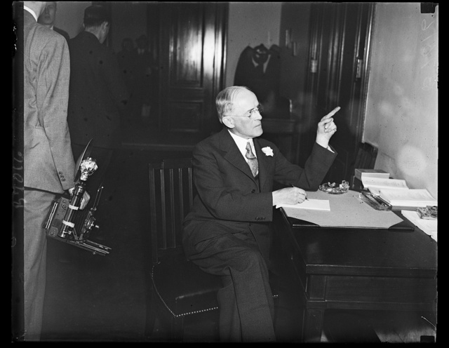 Henry I. Harriman, President of the Chamber of Commerce of the United States, told the Senate Finance Committee that workers should join employer [...] in contributing to the proposed federal unemployment insurance fund. 2/14/35
