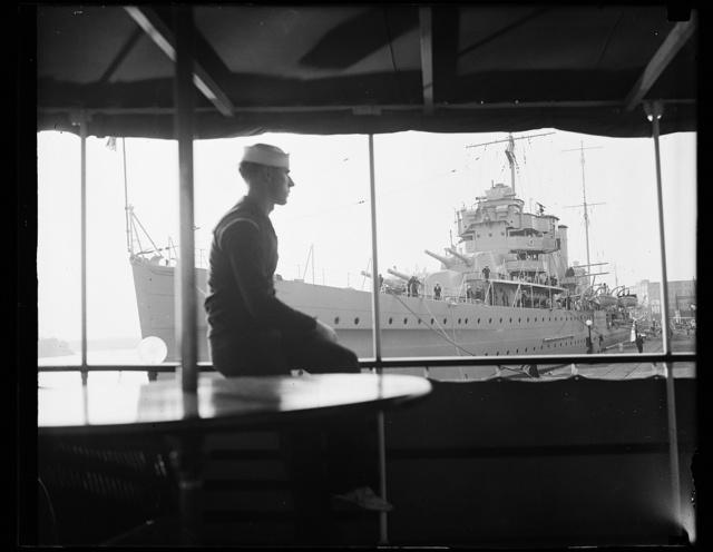 H.M.S. York, flagship of the British West Indian Fleet, docks at the Washington Navy Yard