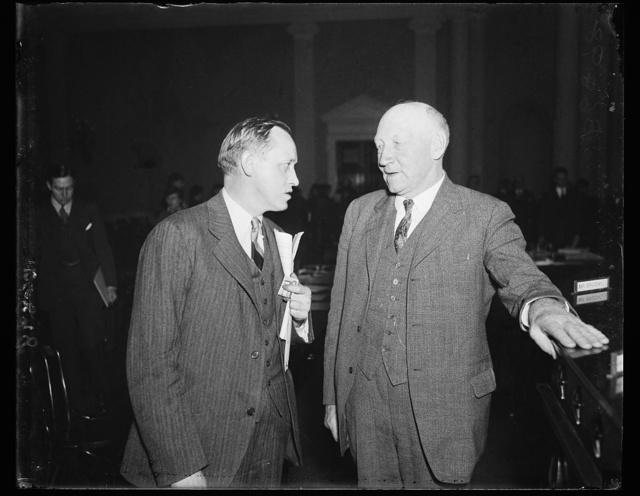 Hopkins and Doughton. Harry Hopkins of FERA, left, appeared before the House Ways and Means Committee in support of the Administration's Social Security program. He is shown here with Rep. Robert L. Doughton, chairman of the committee. 1/23/35