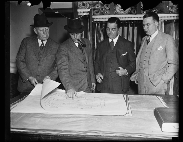 Joe A. Walsh, Construction Engineer; Malsolm Rice, Resident Architect for John Russell Pope; Charles J. Rusch, Mgr. of the Geo. A. Fuller [...]; Milton A. Jordan, Sec. to Mr. Walsh