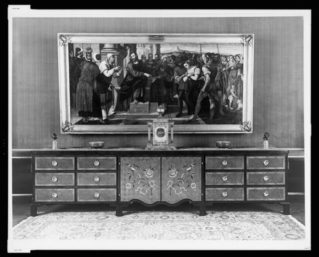 [Large credenza in the study, over which hangs a large Rennaissance painting, Reichs Chancellery, Berlin, Germany]