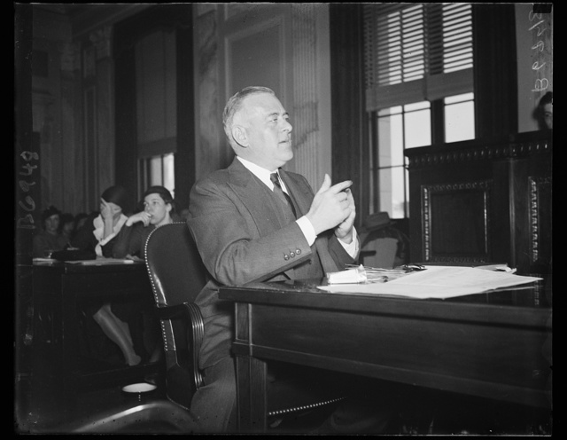 Laurence R. Wilder of Florida, Ch. of Bd. of Gulf Industries, shipbuilders, at munitions quiz. 1/30/35