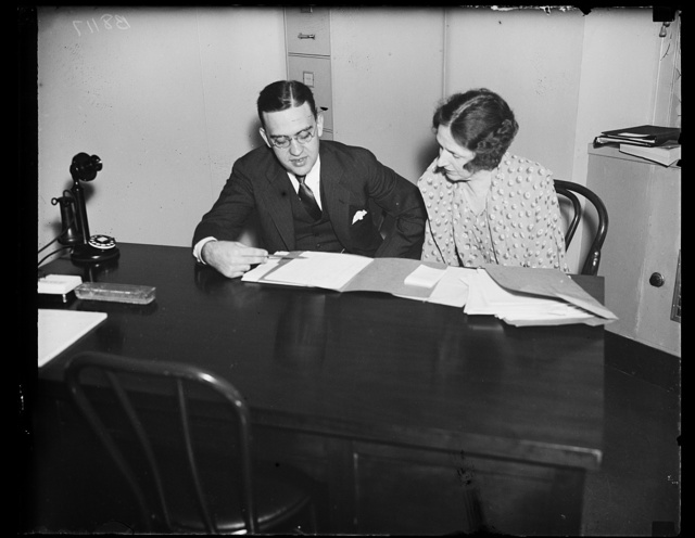 Leaders in NYA. This photograph shows Dr. Mary H.S. Hayes, New York City, Director of the Division of Guidance and Placement of the National Youth Administration, and John J. Corson, Assistant Director of the NYA, as they appeared at the convention of State directors here. Plans for the expenditure of more than $50,000,000 to help the youth of the country are being worked out. 8/20/35