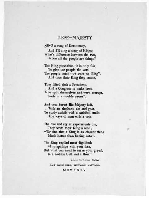 Lese-Majesty [blank] Baltimore, Maryland Salt House Press. 1935.