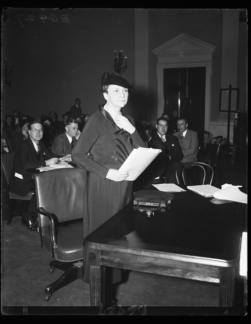 Madame Secretary ready for hearing on security. Secretary of Labor, Frances Perkins, photographed as she prepared to testify on the Administration's Social Security program before the House Ways and Means Committee. 1/22/35