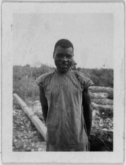 [Man standing, facing front, possibly from the visit by Alan Lomax and Mary Elizabeth Barnicle to Andros Island in the Bahamas]