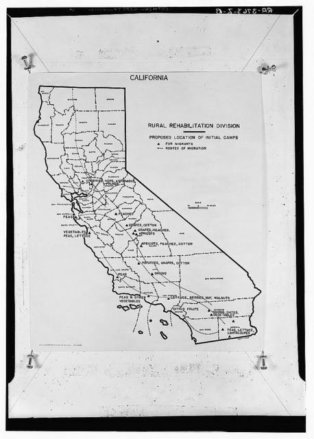 Map of California showing proposed rural rehabilitation camps