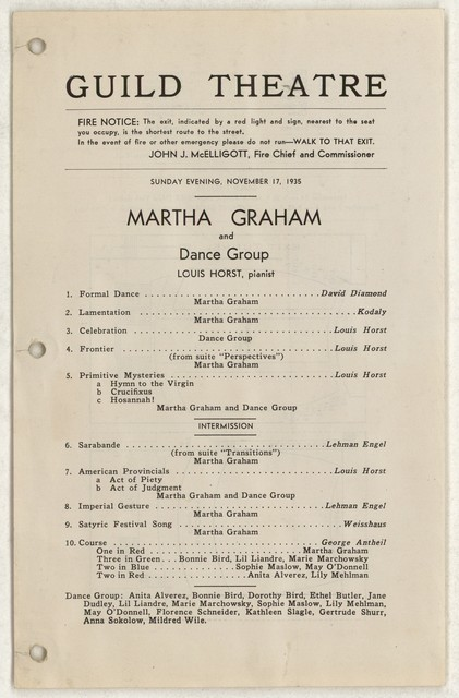 [ Martha Graham and dance group, Guild Theatre, November 17, 1935]