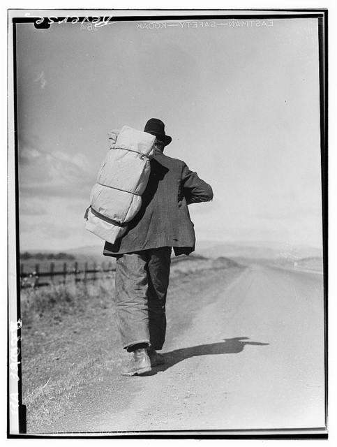 Migrant worker on California highway