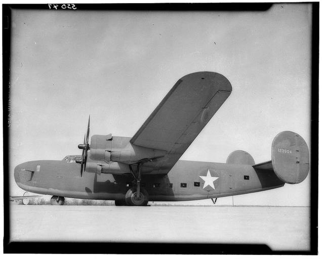 Miscellaneous collection of photographs of aircraft production. C-87 Liberator Express transport, left side close-up view