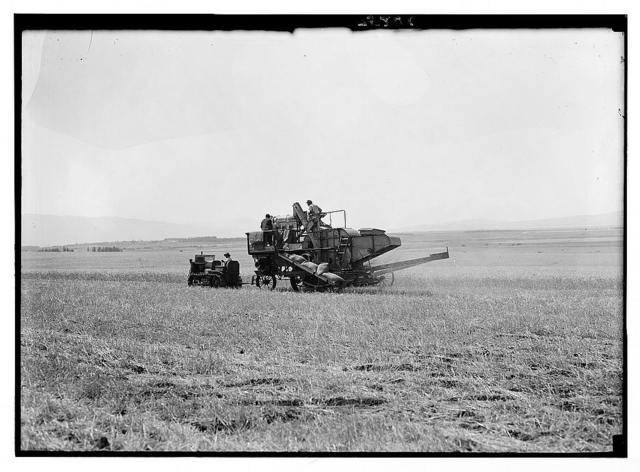 Modern harvester on Plain of Esdraelon. May 26, 1935