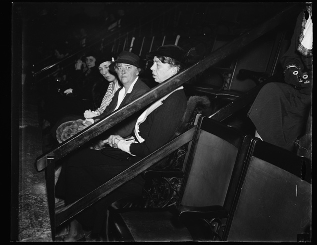 MRS. ROOSEVELT AT OPENING OF 74TH CONGRESS. MRS. ROOSEVELT, NEXT TO RAILING, VIEWS THE OPENING CEREMONIES OF THE 74TH CONGRESS. WITH HER IS NANCY COOK OF NEW YORK