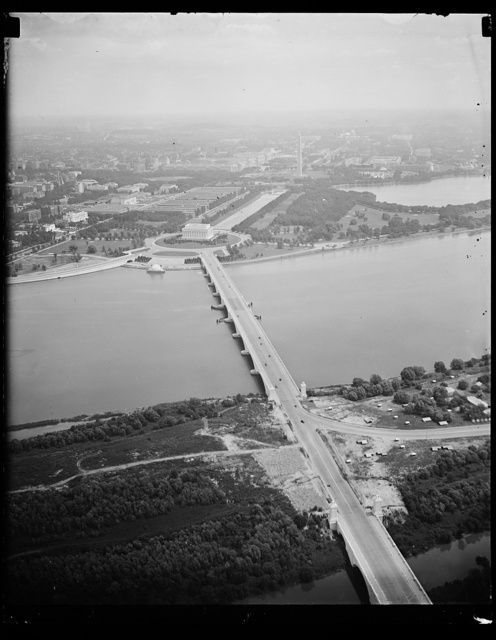 New landscaping completed. This airview of Lincoln memorial and the Arlington Memorial Bridge shows the completed landscaping in this vicinity. Photo from Goodyear airship Enterprise. 8/10/35