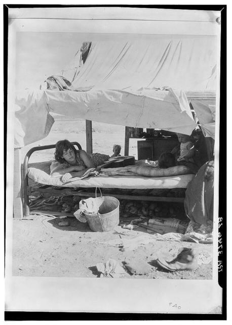 Oklahoma potato picker's family encamped on the flats near Shafter, California