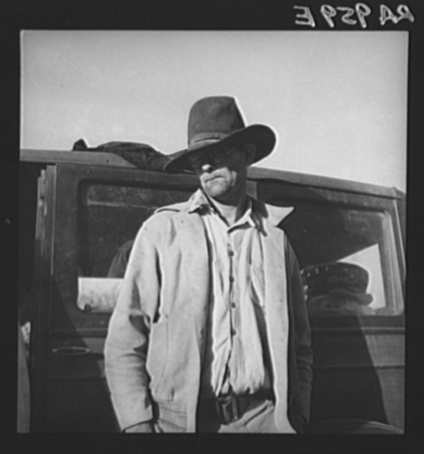 Once a prosperous Texas farmer, near Bakersfield, California, now come to California looking for work and work for his family in cotton. No work, and no money