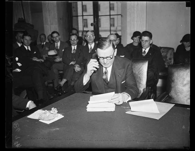 Peek of Peek vs Hull. George N. Peek, head of the Export and Import Bank, tells Senate Agriculture Committee that Secretary Cordell Hull's State Department blocked a 750,000 bale cotton deal with Germany. The Committee decided to ask Sec. Hull all about it. 2/1/35