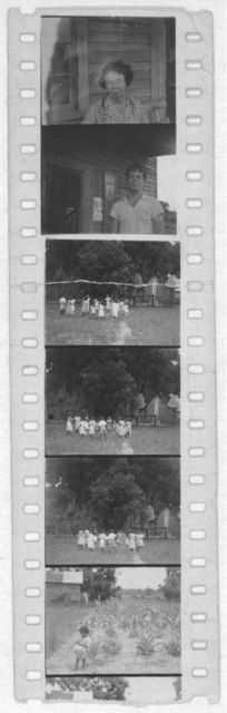 [Portraits of people (including Mary Elizabeth Barnicle in first frame and Alan Lomax in second frame); people dancing, Frederica, Georgia, 1935]