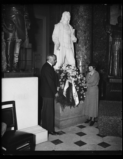 Roger Williams honored. The laying of the wreath on the statue of Roger Williams in Statuary Hall of the Capitol in celebration of the tercentennary of his banishment from Massachusetts. The wreath was placed by former governor Norman Stanley Case of Rhode Island