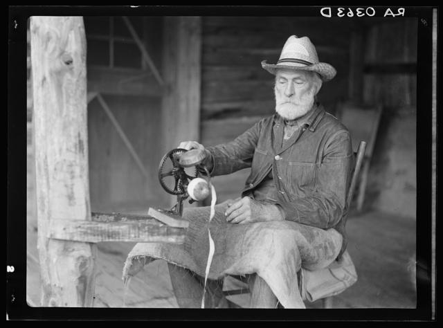 Russ Nicholson peeling apples. Shenandoah National Park, Virginia