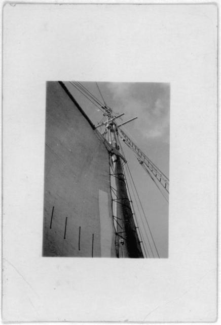 [Sails on ship, taken from below, during Bahamas recording expedition]
