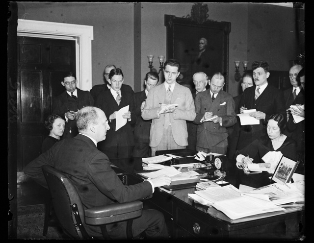 Sec. Henry Morgenthau at press conference. 1/17/35