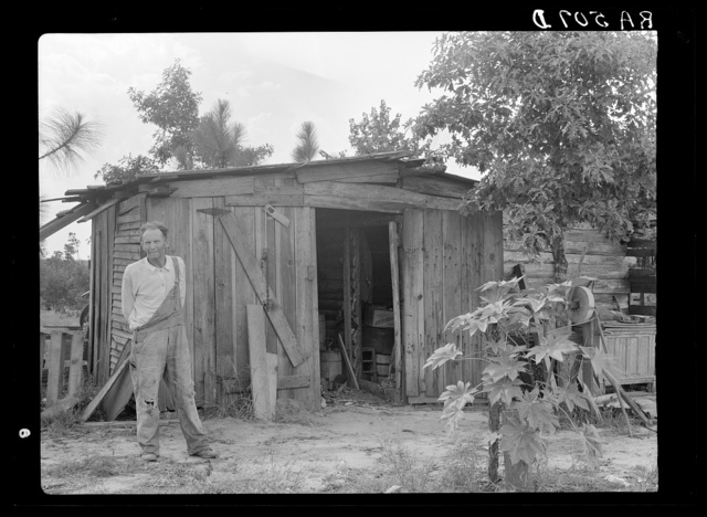 Shack in which rehabilitation client lives before obtaining resettlement loan. Louisiana