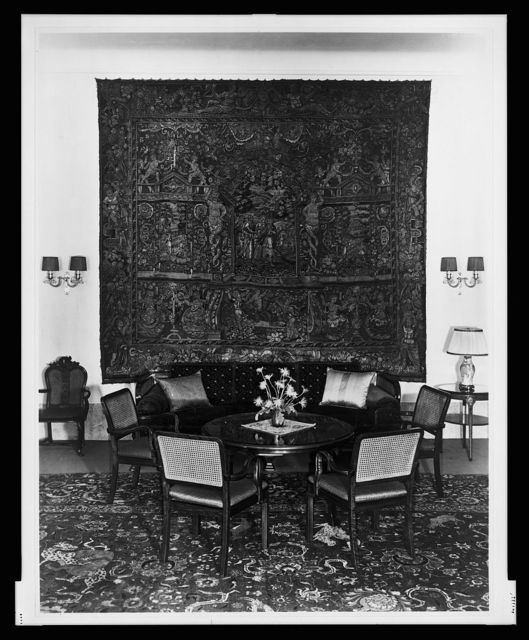 [Sofa and chairs arranged in front of tapestry in the salon, Reichs Chancellery, Berlin, Germany]