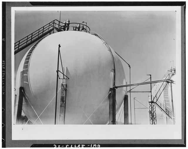 Storing butadiene. Butadiene storage tanks at the Institute plant at Institute, West Virginia. The pressure of the butadiene gaseous is so high that only huge spherical tanks can hold large volumes
