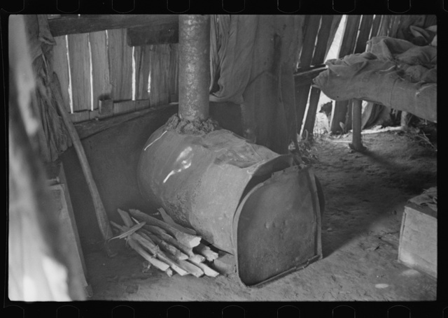 Stove made out of old oil can, squatter's camp, Arkansas