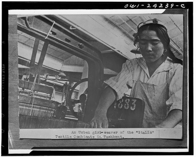 "Tashkent, USSR (Union of Soviet Socialist Republics). Uzbek girl weaver of ""Stalin"" textile conbinate"