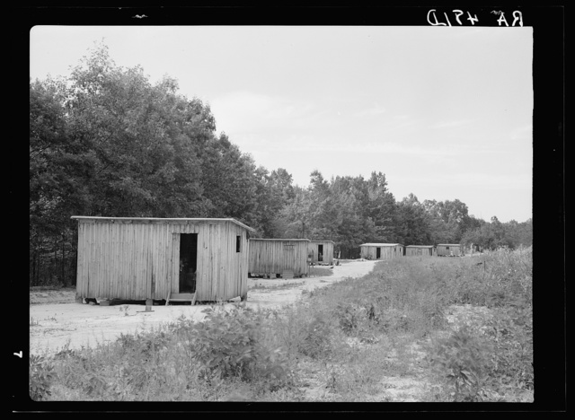Temporary shacks used by resettlement families while new homes are being constructed. Skyline Farms, Alabama