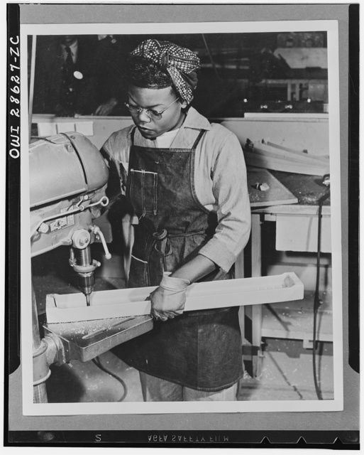 The six plane factories of the Douglas Aircraft Company have been termed an industrial melting pot, since men and women of fifty-eight national origins work side by side in pushing Americas's plane output. S. O. Porter, Douglas director of personnel, recently declared that Negros are doing an outstanding job in all plants. Lucille Little works in the El Segundo Plant of the Douglas Aircraft Company