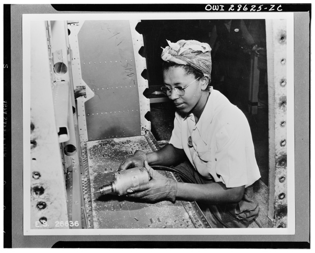 The six plane factories of the Douglas Aircraft Company have been termed an industrial melting pot, since men and women of fifty-eight national origins work side by side in pushing Americas's plane output. S. O. Porter, Douglas director of personnel, recently declared that Negros are doing an outstanding job in all plants. Ruth Miller works in the El Segundo Plant of the Douglas Aircraft Company