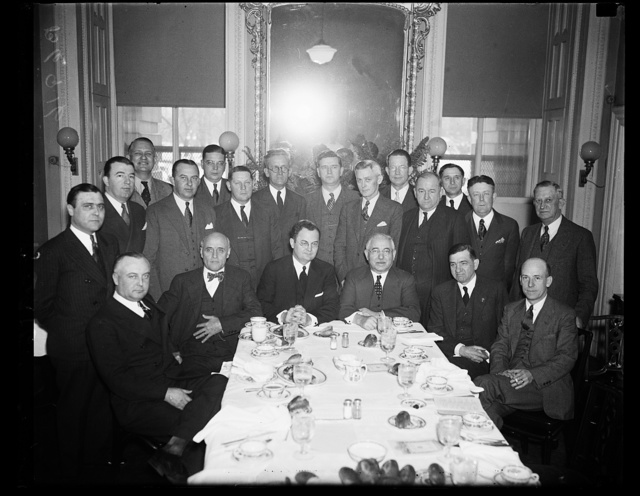 This group of congressmen is organizing for a vigorous fight to put the soldier's bonus bill through the House. From left to right, seated: Abe Mudock of Utah, A.J. May of Ky., Wright Pattman of Tex., Adolph Sabath of Ill., Clarence Cannon of Mo., Wm. P. Connery Jr. of Mass., (second row) Gerald J. Boileau of Wis., Jinnings Randolph of W.Va., Frank Hancock of N. Carolina, Wm. M. Berlan of Penn., John E. Miller of Ark., James G. Scrugham of Nevada. (Back row) Martin Dies of Tex., Paul Kvale of Minn., Arthur H. Greenwood of Ind., James P. Richards of S. Carolina, Wm. M. Colmer of Miss. and George A. Dondero of Mich.