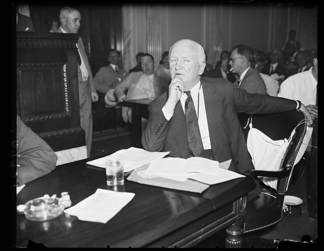 [Tumulty testifies on fees from utilities. Joseph P. Tumulty, Secretary to President Wilson, testifies before the Senate lobby investigating vommittee that he received $33,000 in fees during the post two years from various utilities. He said that Munuel Quezon, president of the Phillipine senate did NOT pay him fees for advisory work from which he received $12,500. 8/7/35]