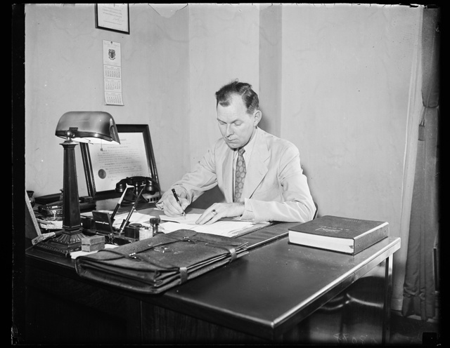 TVA's defender. Lawrence Fly, legal light of the New Deal, photographed in Washington when he returned from his victory in New Orleans circuit court fight with opponents of the TVA. 8/14/35