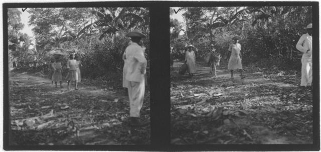 [Two photos featuring groups of men and women walking down road, probably from Bahamas expedition, 1935]