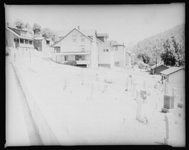 Typical houses. Graveyard in foreground. Rowlesburg, Preston County, West Virginia