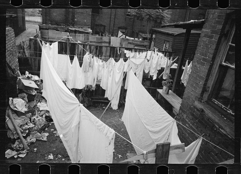Untitled photo, possibly related to: The Capitol can be seen in the background of this backyard slum scene, Washington, D.C.