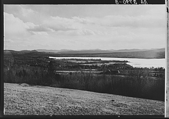View looking over Weld village and Weld Lake towards Dixfield, Maine