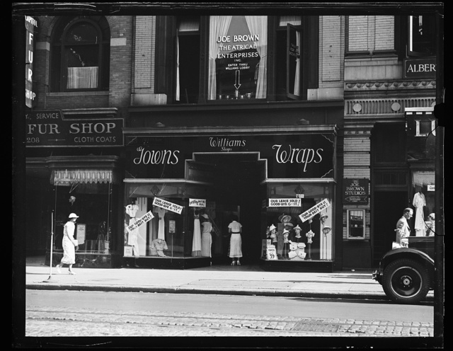 [View of businesses: Joe Brown Theatrical Enterprises and Williams Shops, Gowns, Wraps]