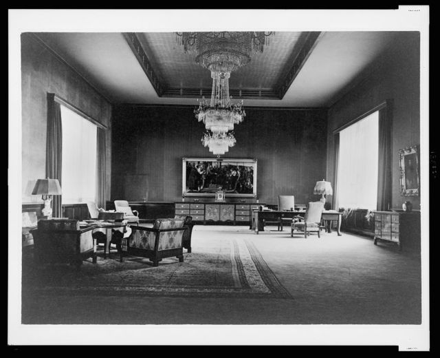 [View of large Rennaissance painting and furnishings in the main administrative office, Reichs Chancellery, Berlin, Germany]