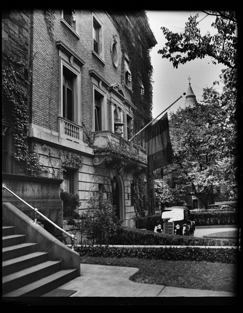 Wash. D.C. Belgian Embassy. The Belgian Embassy placed its flag at half mast when news of the tragic death of Queen Astrid in an automobile accident in Switzerland, was confirmed officially. 8/29/35