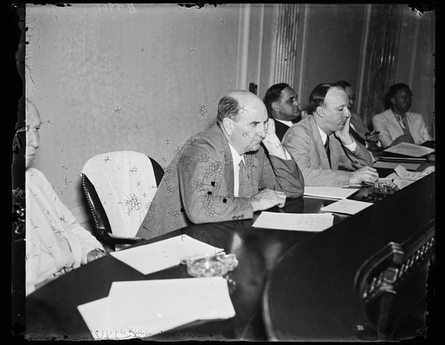 Wash. D.C. Put on pressure. Sen. Lynn J. Frazier (R. of N.D.) and Sen. Hugo L. Black (D. of Ala.) Chr. of the newly appointed Senate Lobby Investigation Com. which opened the doors Friday for utility hearings. This picture taken Friday during the hearing. 7/12/35
