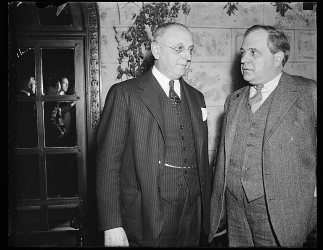 Wash. D.C. Speaks of League of Nations. Left to right: Dr. Frank N.D. Buchman, American founder of the Oxford Group movement. The Hon. Carl J. Hambro, President of Parliament of Norway and member of Supervisory Committee of the League of Nations. Hon. Carl J. Hambro spoke on the League of Nations. 11/7/35