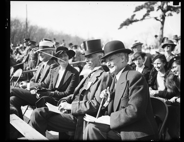 Wash. D.C. Watching their show. Melvin Hazen, left, District Commissioner, and Ambassador Manuel Truceo of Chile, watching the Inter- American Horse Show at which the Chilean team made a fine showing. Hazen played an important part in bringing the show to Washington. 10/26/35